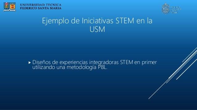  Diseños de experiencias integradoras STEM en primer utilizando una metodología PBL. Ejemplo de Iniciativas STEM en la USM