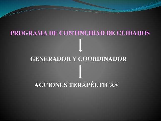 PROGRAMA DE CONTINUIDAD DE CUIDADOS GENERADOR Y COORDINADOR ACCIONES TERAPÉUTICAS