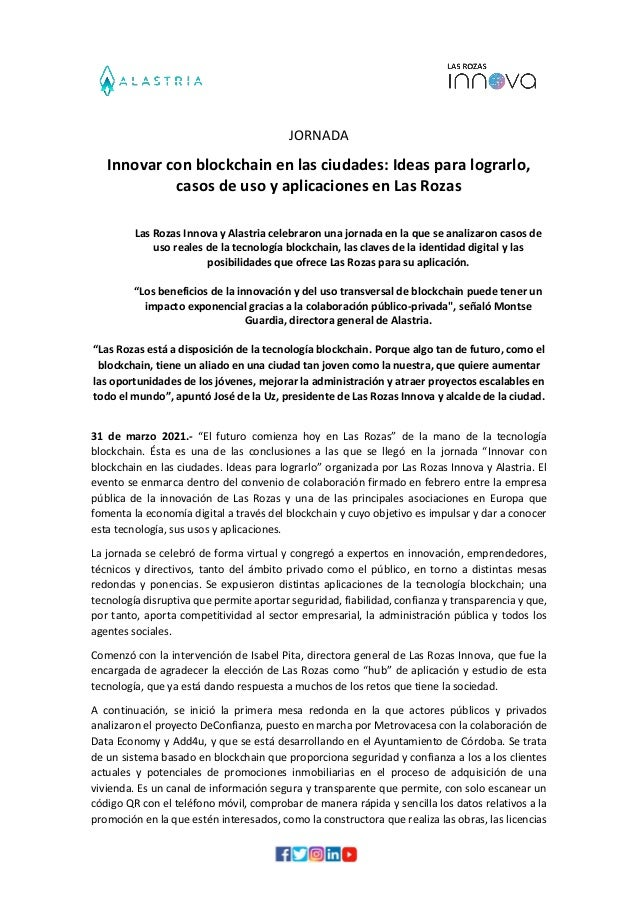 JORNADA Innovar con blockchain en las ciudades: Ideas para lograrlo, casos de uso y aplicaciones en Las Rozas Las Rozas In...
