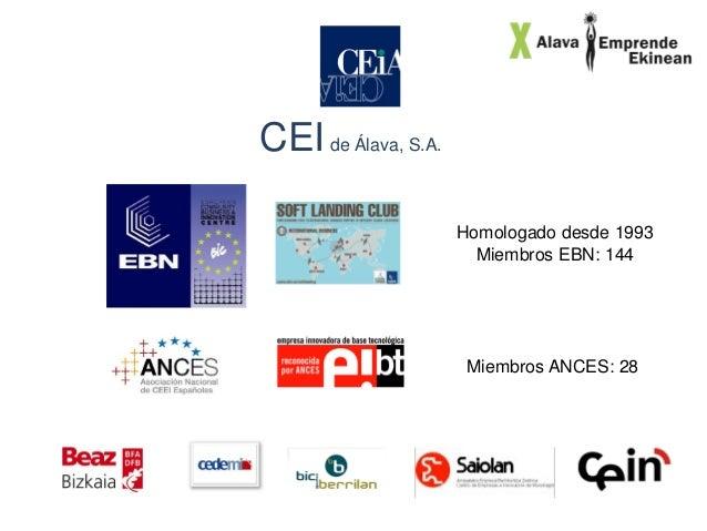 CEI de Álava, S.A. Homologado desde 1993 Miembros EBN: 144  Miembros ANCES: 28