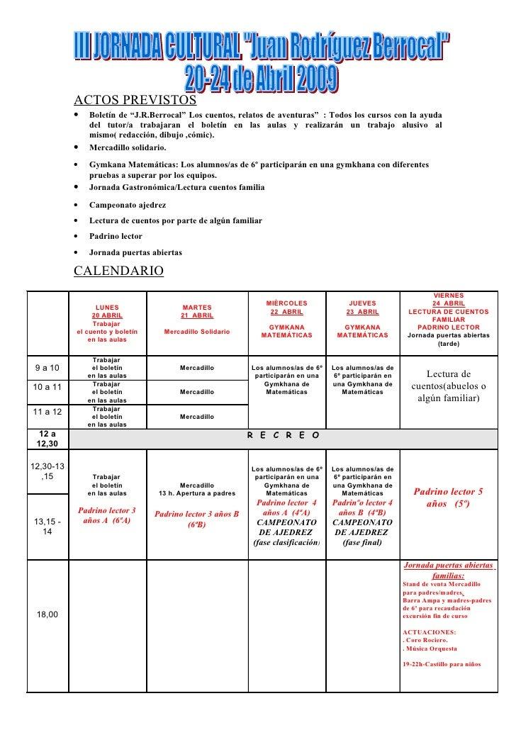 """ACTOS PREVISTOS            •      Boletín de """"J.R.Berrocal"""" Los cuentos, relatos de aventuras"""" : Todos los cursos con la a..."""