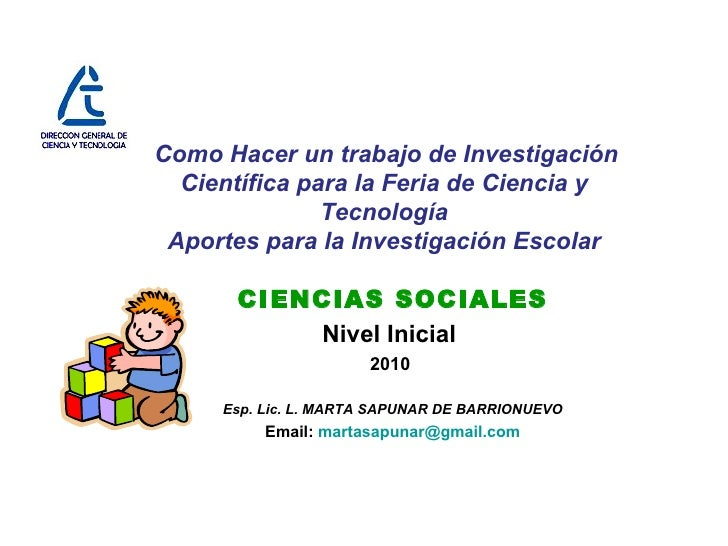 Como Hacer un trabajo de Investigación Científica para la Feria de Ciencia y Tecnología Aportes para la Investigación Esco...