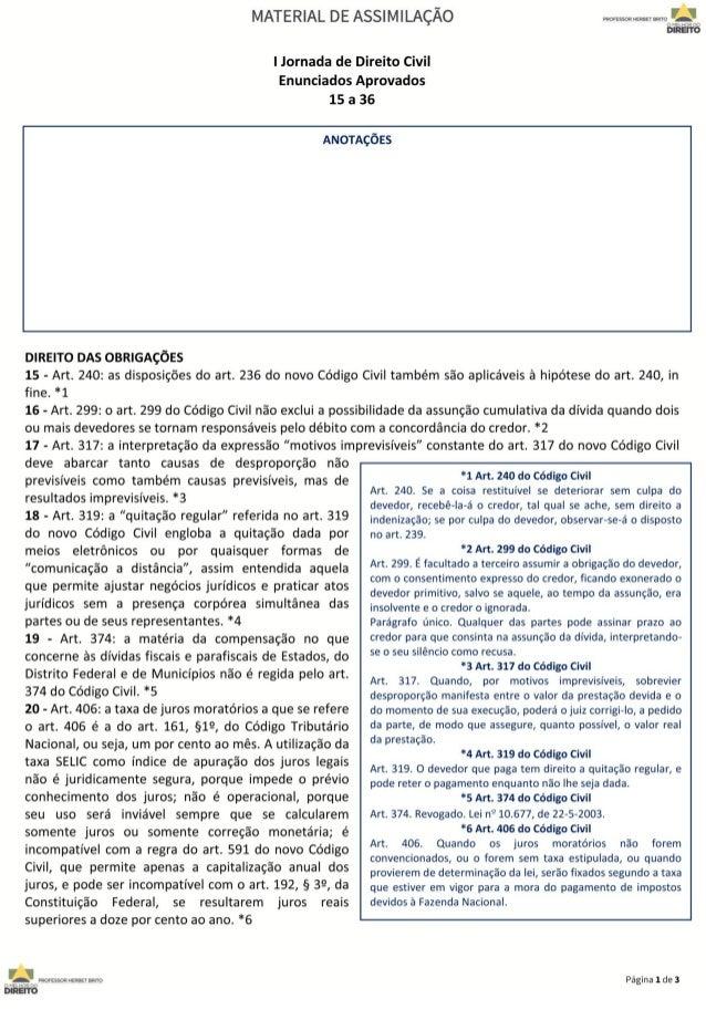 Jornada de direito civil 15 a 36
