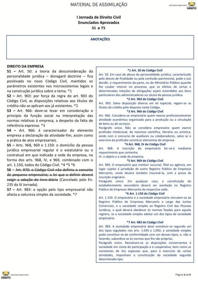 Jornada de Direito Civil 51 a 75