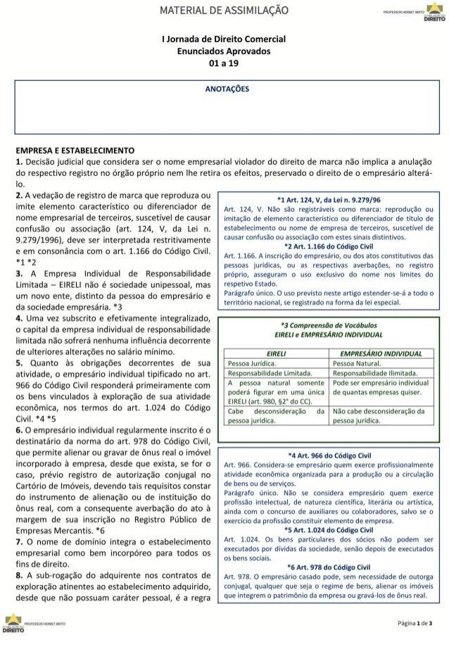 Enunciados da I Jornada de Direito Comercial   1 a 19