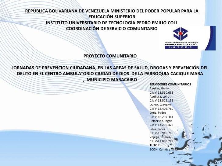 REPÚBLICA BOLIVARIANA DE VENEZUELA MINISTERIO DEL PODER POPULAR PARA LA EDUCACIÓN SUPERIOR<br />INSTITUTO UNIVERSITARIO DE...