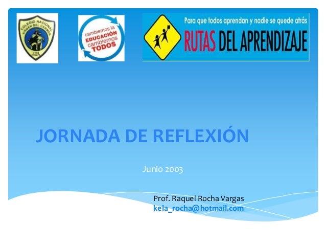 JORNADA DE REFLEXIÓN Junio 2003 Prof. Raquel Rocha Vargas kela_rocha@hotmail.com