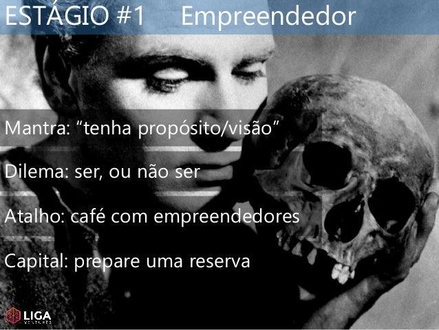 """ESTÁGIO #1 Empreendedor Mantra: """"tenha propósito/visão"""" Dilema: ser, ou não ser Atalho: café com empreendedores Capital: p..."""