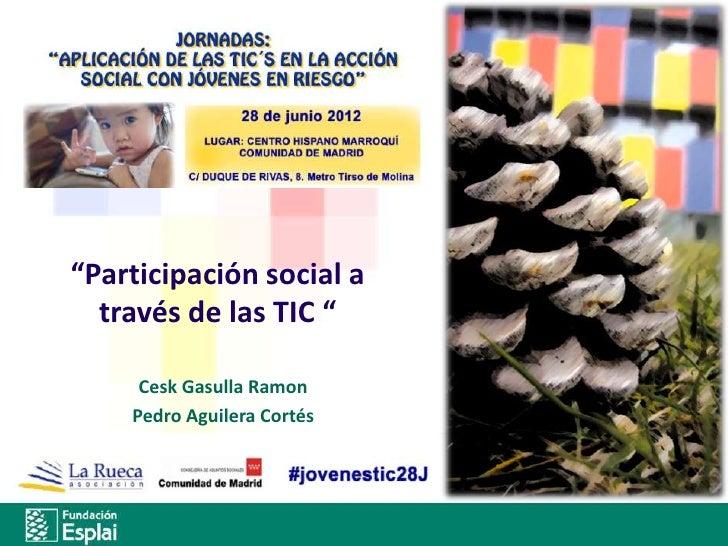 """""""Participación social a  través de las TIC """"     Cesk Gasulla Ramon    Pedro Aguilera Cortés"""