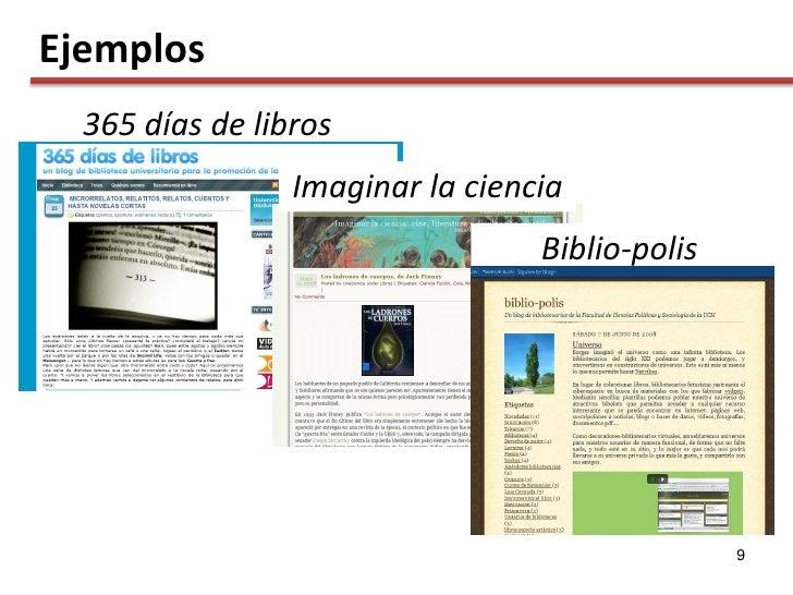 Ejemplos   365 días de libros                  Imaginar la ciencia                                   Biblio-polis         ...