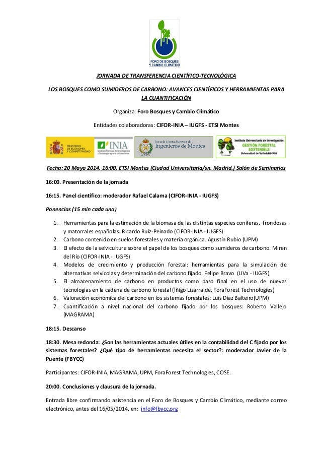 JORNADA DE TRANSFERENCIA CIENTÍFICO-TECNOLÓGICA LOS BOSQUES COMO SUMIDEROS DE CARBONO: AVANCES CIENTÍFICOS Y HERRAMIENTAS ...