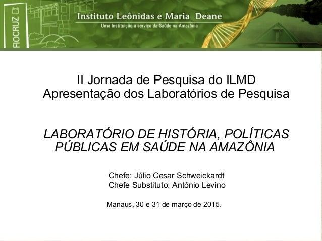 II Jornada de Pesquisa do ILMD Apresentação dos Laboratórios de Pesquisa LABORATÓRIO DE HISTÓRIA, POLÍTICAS PÚBLICAS EM SA...