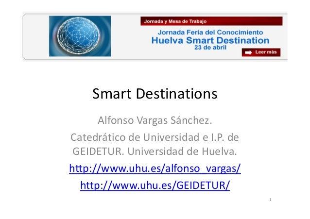Smart Destinations Alfonso Vargas Sánchez. Catedrático de Universidad e I.P. de GEIDETUR. Universidad de Huelva. http://ww...