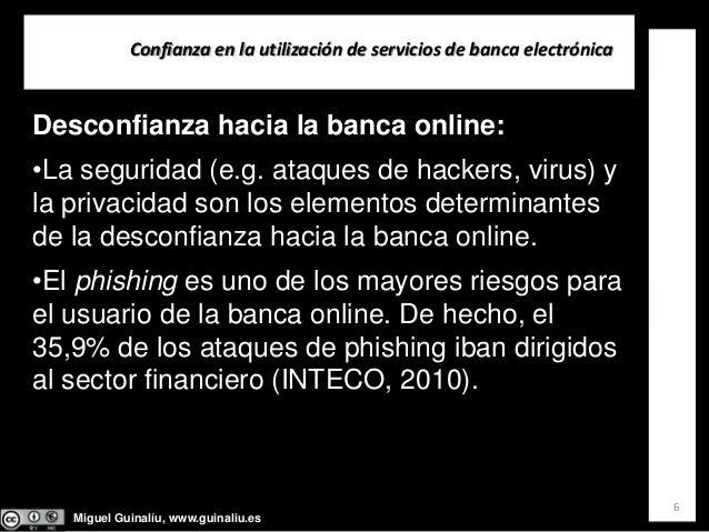 Miguel Guinalíu, www.guinaliu.es Confianzaenlautilizacióndeserviciosdebancaelectrónica 6 Desconfianza hacia la ban...