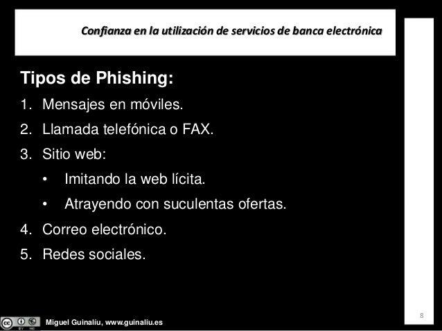 Miguel Guinalíu, www.guinaliu.es Confianzaenlautilizacióndeserviciosdebancaelectrónica 8 Tipos de Phishing: 1. Men...
