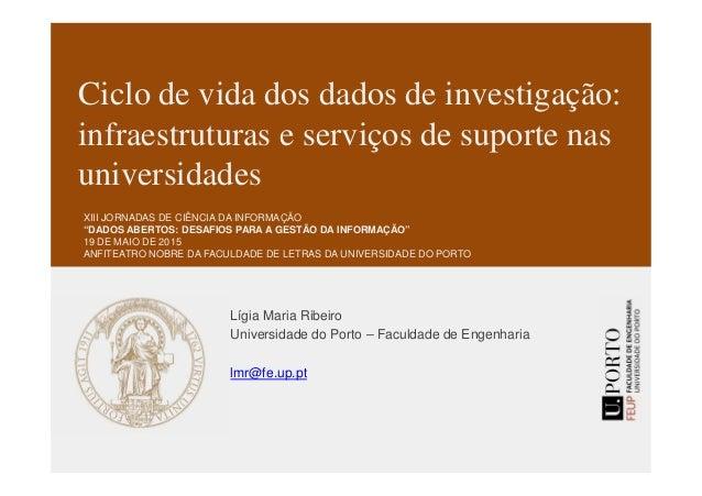 Ciclo de vida dos dados de investigação: infraestruturas e serviços de suporte nas universidades Lígia Maria Ribeiro Unive...