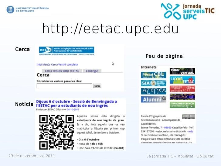 http://eetac.upc.edu   Cerca                              Peu de pàgina   Notícia23 de novembre de 2011        5a Jornada ...