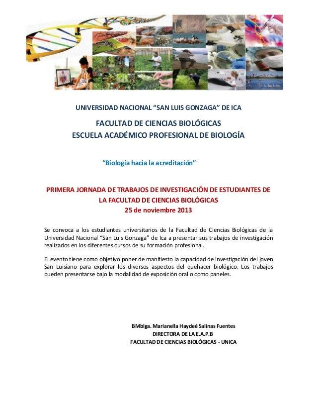 """UNIVERSIDAD NACIONAL """"SAN LUIS GONZAGA"""" DE ICA  FACULTAD DE CIENCIAS BIOLÓGICAS ESCUELA ACADÉMICO PROFESIONAL DE BIOLOGÍA ..."""