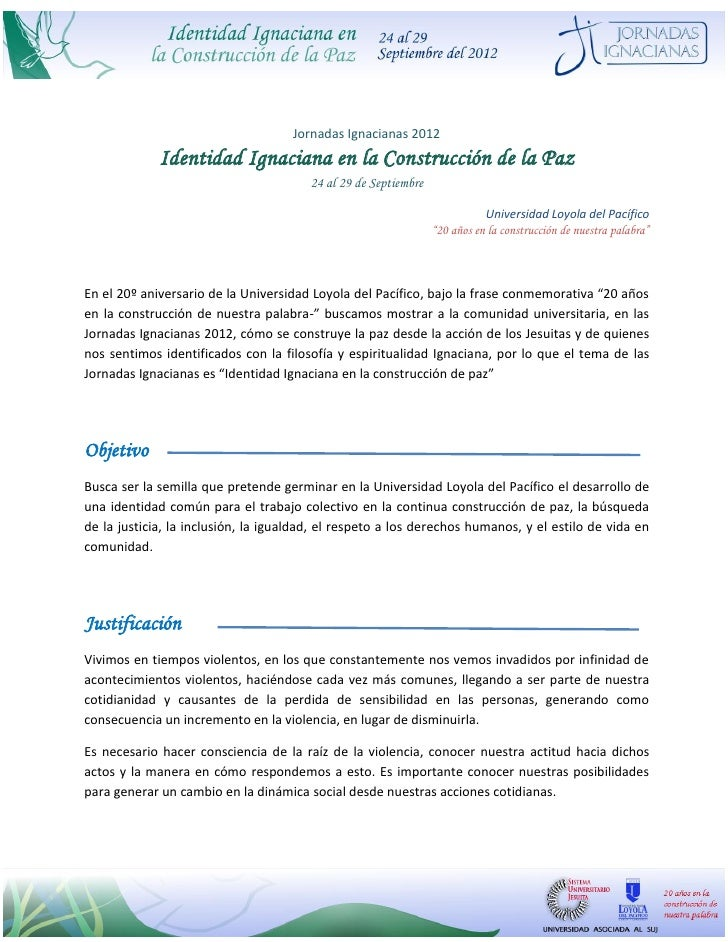Jornadas Ignacianas 2012             Identidad Ignaciana en la Construcción de la Paz                                     ...