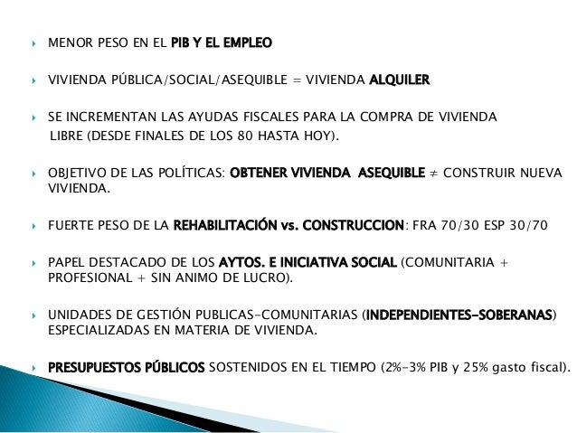  MENOR PESO EN EL PIB Y EL EMPLEO  VIVIENDA PÚBLICA/SOCIAL/ASEQUIBLE = VIVIENDA ALQUILER  SE INCREMENTAN LAS AYUDAS FIS...