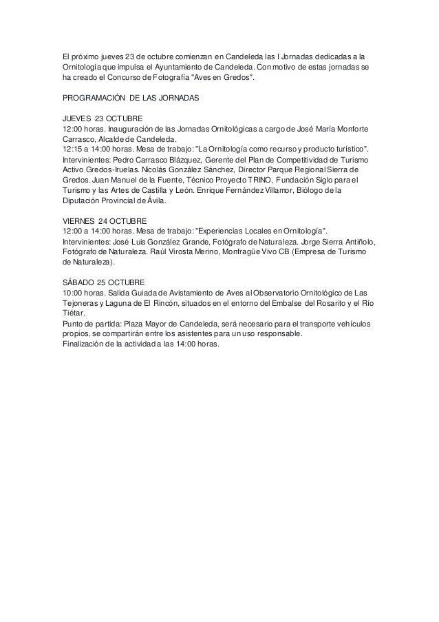I Jornadas Ornitológicas en #Candeleda #Gredos