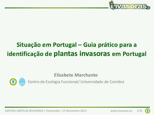 Situação em Portugal – Guia prático para a  identificação de plantas invasoras em Portugal  Elizabete Marchante  Centro de...