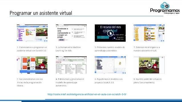 Programar un asistente virtual http://code.intef.es/inteligencia-artificial-en-el-aula-con-scratch-3-0/