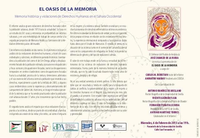 EL OASIS DE LA MEMORIA      Memoria histórica y violaciones de Derechos Humanos en el Sáhara OccidentalEl informe analiza ...