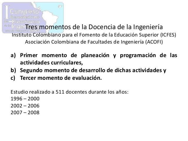 Tres momentos de la Docencia de la Ingeniería Instituto Colombiano para el Fomento de la Educación Superior (ICFES) Asocia...