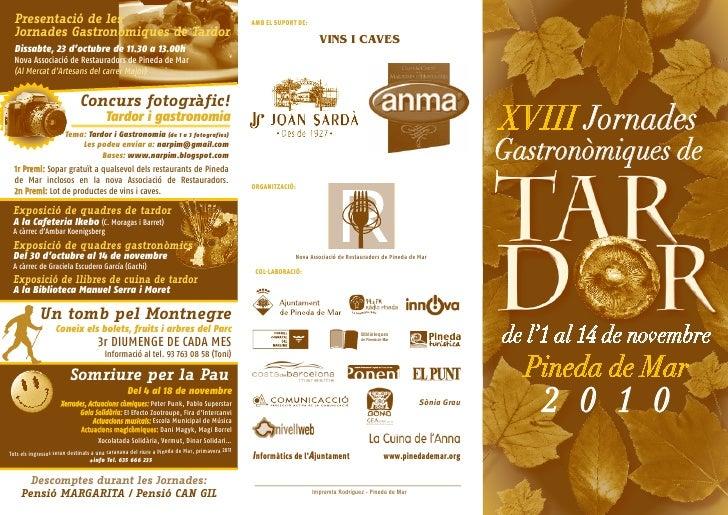 Presentació de les                                                                            AMB EL SUPORT DE:  Jornades ...