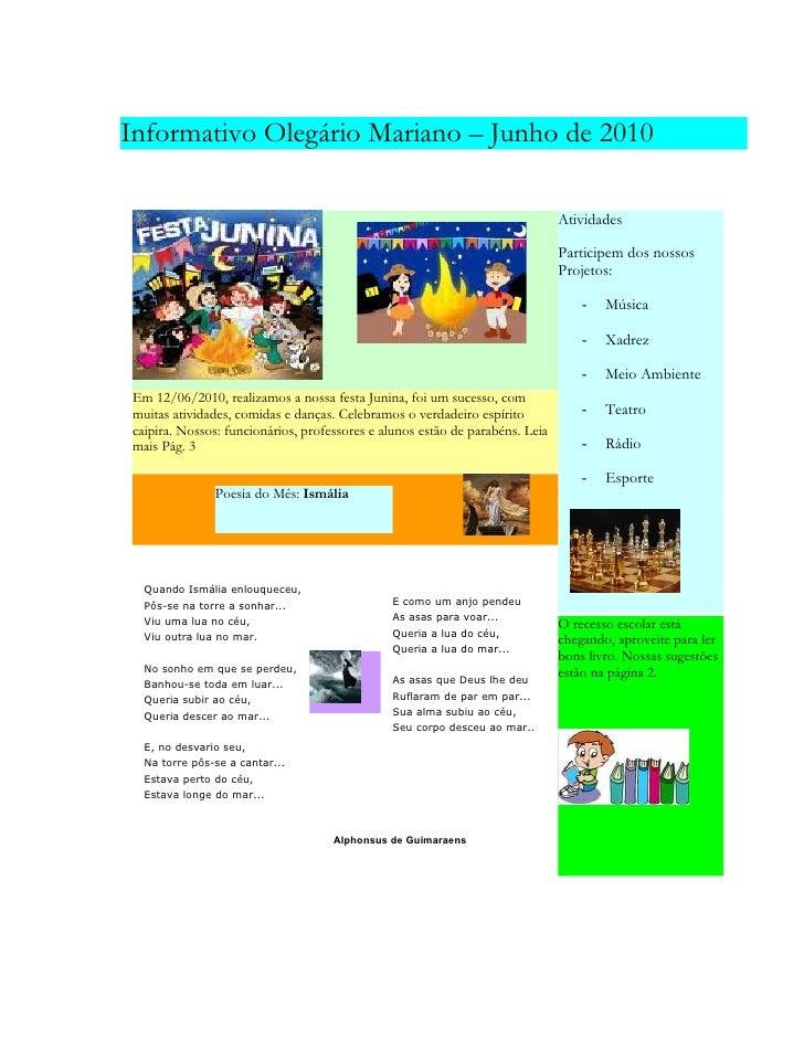 Informativo Olegário Mariano – Junho de 2010                                                                              ...