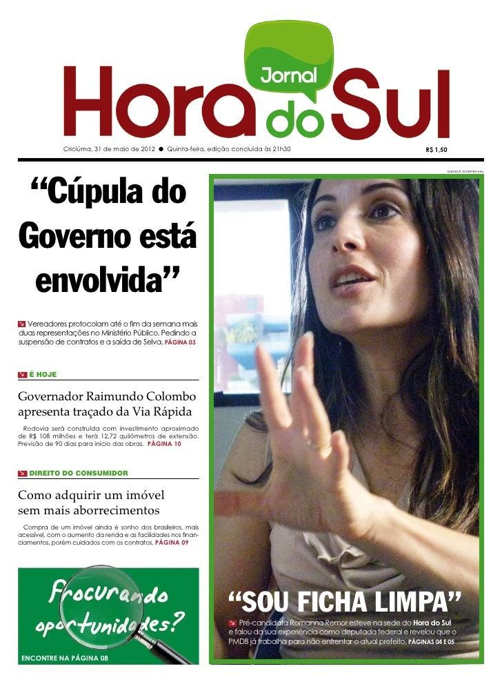 """Criciúma, 31 de maio de 2012 l Quinta-feira, edição concluída às 21h30                                       R$ 1,50 """"Cúpu..."""