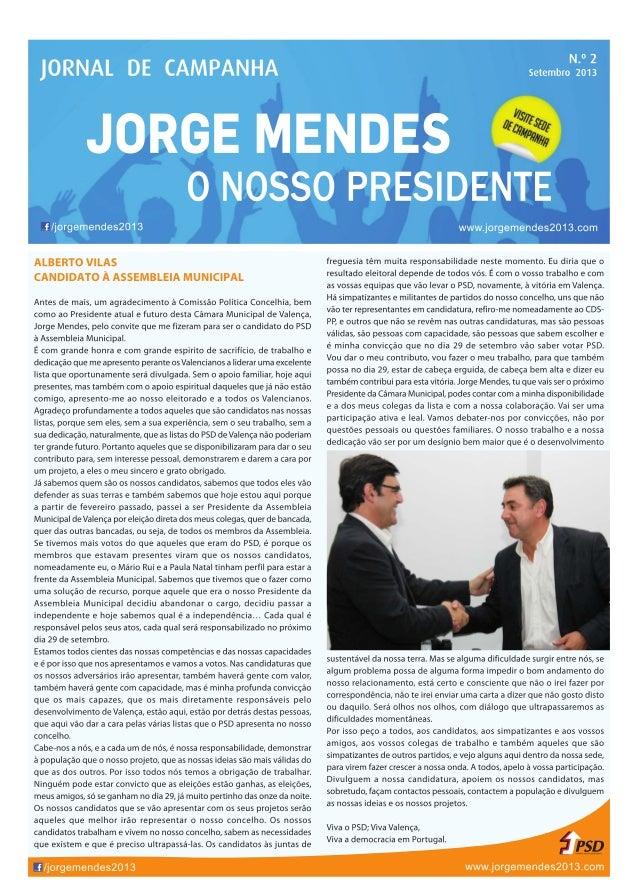 """Jornal de Campanha Nº2 - Jorge Mendes """"O Nosso Presidente"""""""