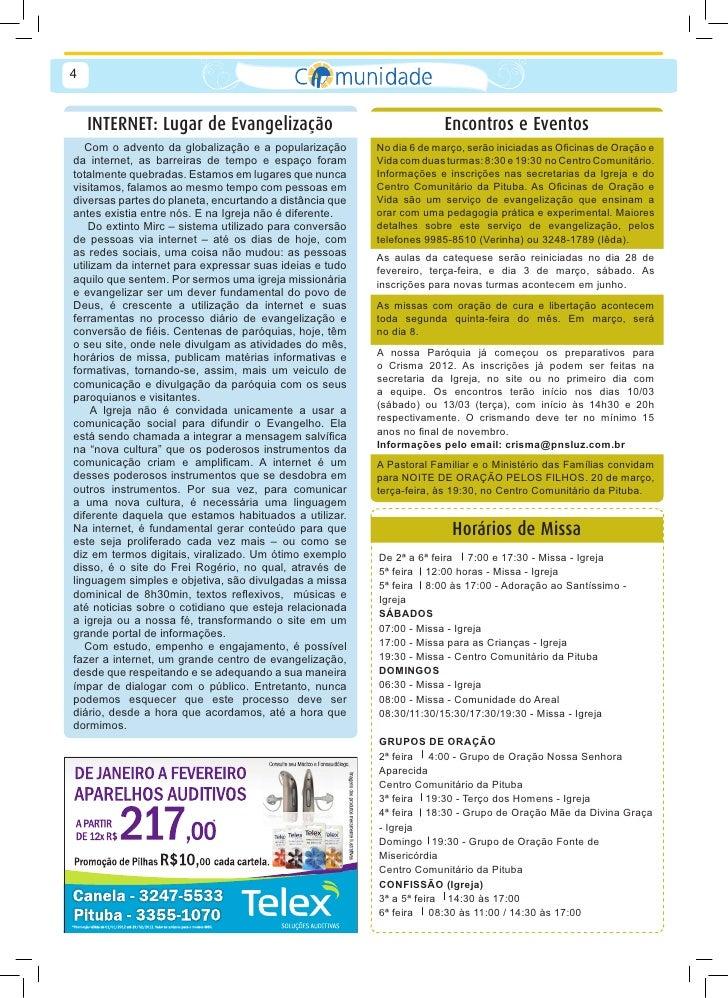 Jornal da comunidade par quia nossa senhora da luz for Bankia a distancia oficina internet