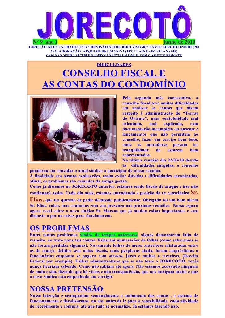 N° 9 ano 1                                                           junho de 2010 DIREÇÃO NELSON PRADO (153) * REVISÃO NE...