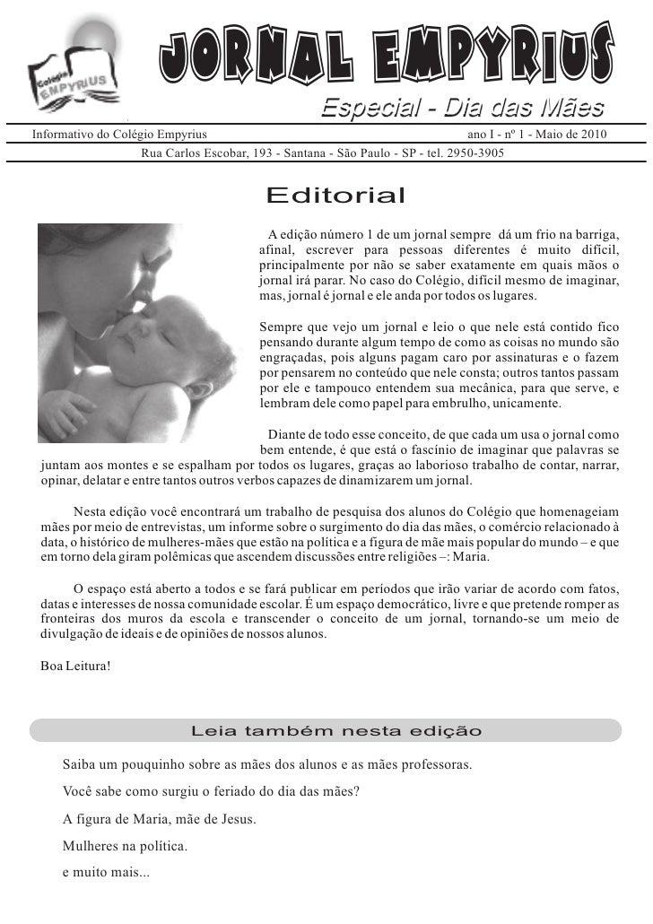 Jornal Empyrius               Especial - Dia das Mães Informativo do Colégio Empyrius                                     ...