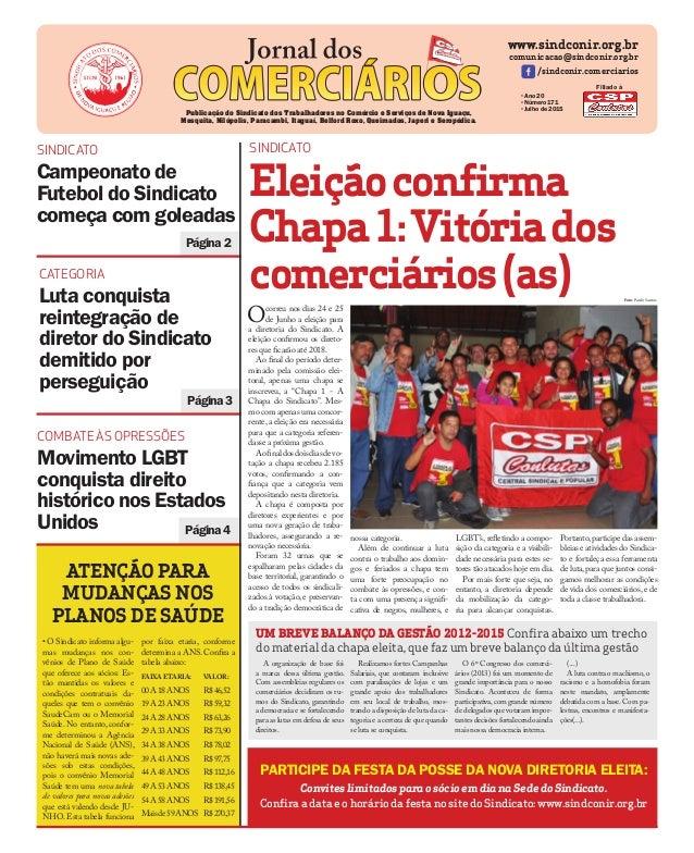 Página2 www.sindconir.org.br comunicacao@sindconir.org.br /sindconir.comerciarios •Ano 20 •Número 171 •Julho de 2015 Publi...