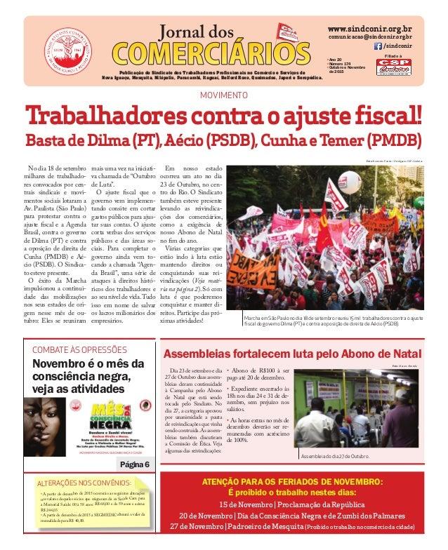 www.sindconir.org.br comunicacao@sindconir.org.br /sindconir •Ano 20 •Número 174 •Outubro e Novembro de 2015Publicação do ...