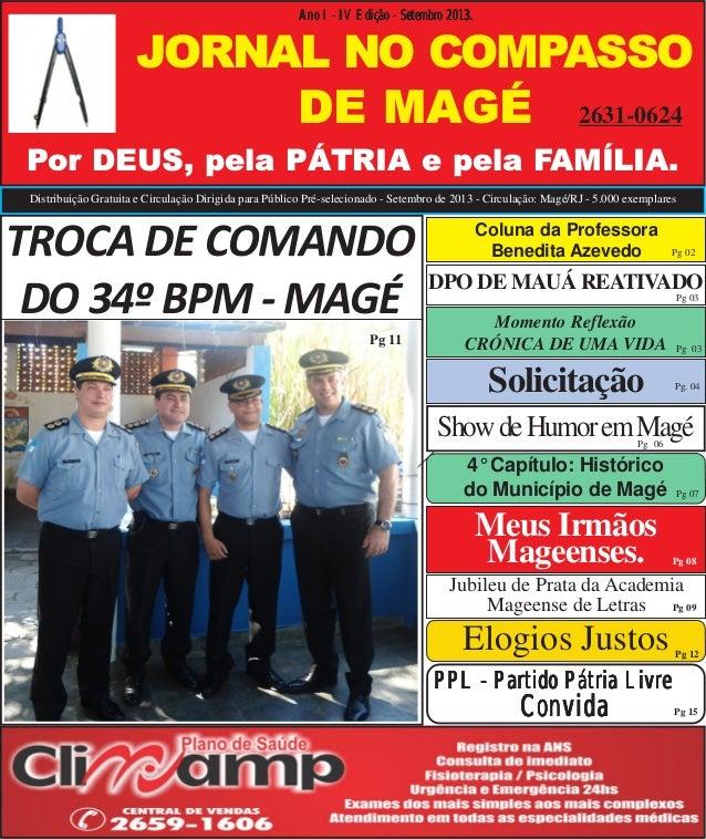 Distribuição Gratuita e Circulação Dirigida para Público Pré-selecionado - Setembro de 2013 - Circulação: Magé/RJ - 5.000 ...