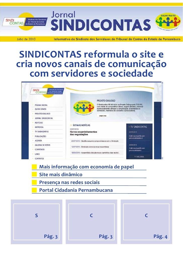 SINDICONTAS reformula o site e  cria novos canais de comunicação     com servidores e sociedade             M...
