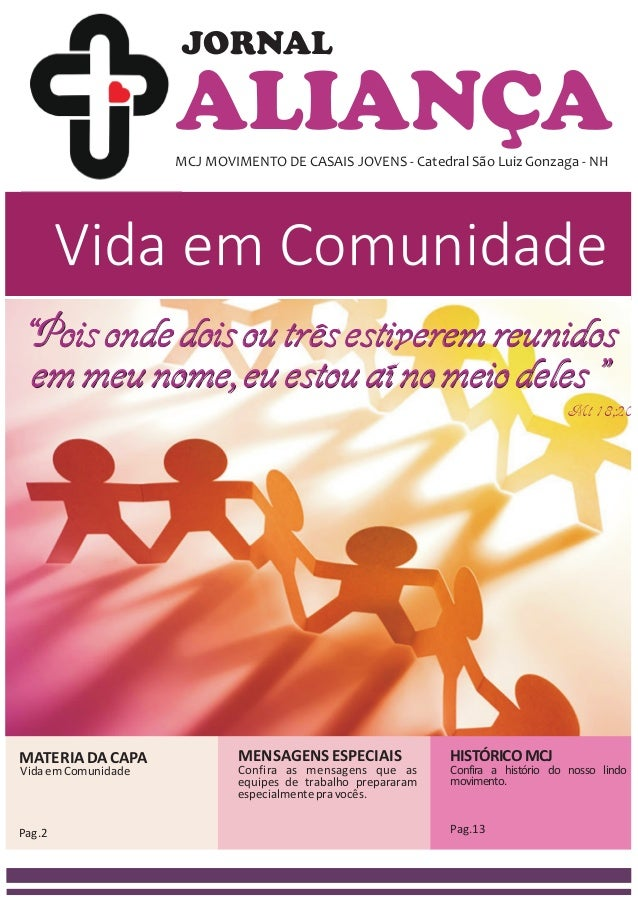 ALIANÇAMCJ MOVIMENTO DE CASAIS JOVENS - Catedral São Luiz Gonzaga - NH JORNAL Vida em Comunidade MATERIADACAPA Pag.2 MENSA...