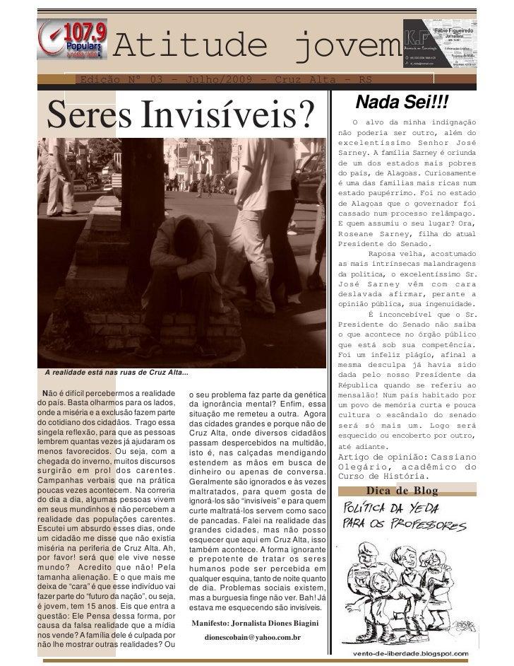 Atitude jovem             Edição N° 03 - Julho/2009 - Cruz Alta - RS                                                      ...