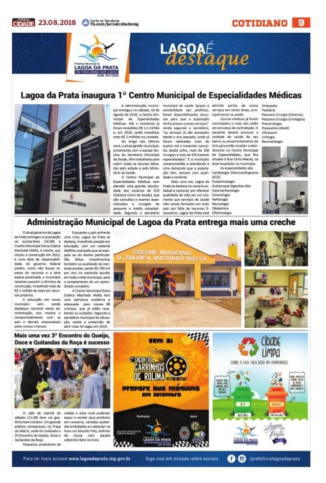 423e249a0 Jornal Cidade - Lagoa da Prata e região - Nº 124 - 23/08/2018
