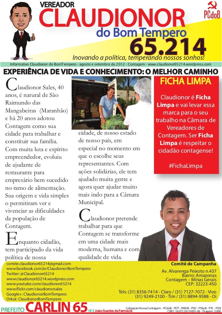 VEREADOR                  CLAUDIONOR                      do Bom Tempero                           65.214    Inovando a po...