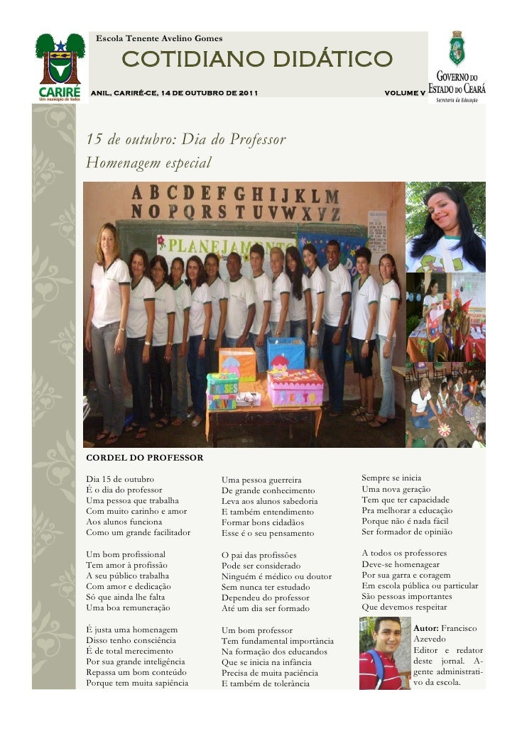 Escola Tenente Avelino Gomes         COTIDIANO DIDÁTICO ANIL, CARIRÉ-CE, 14 DE OUTUBRO DE 2011                           V...