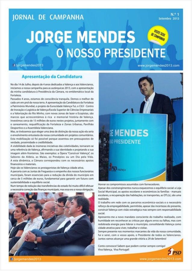 Jornal de Campanha - Jorge Mendes