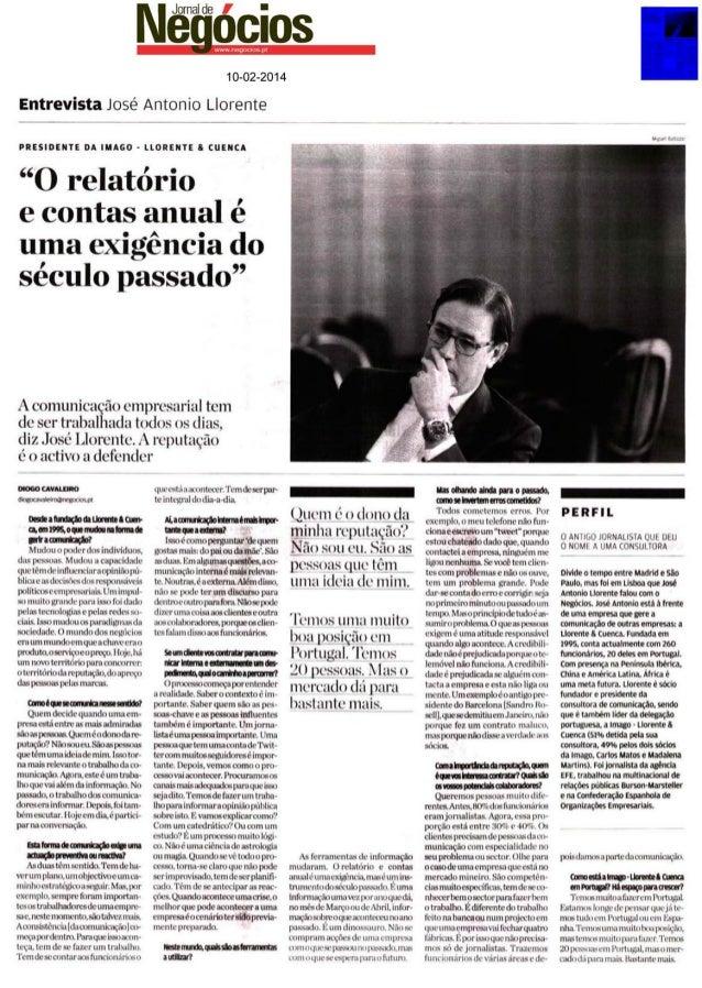 Entrevista de José António ao Jornal de Negócios