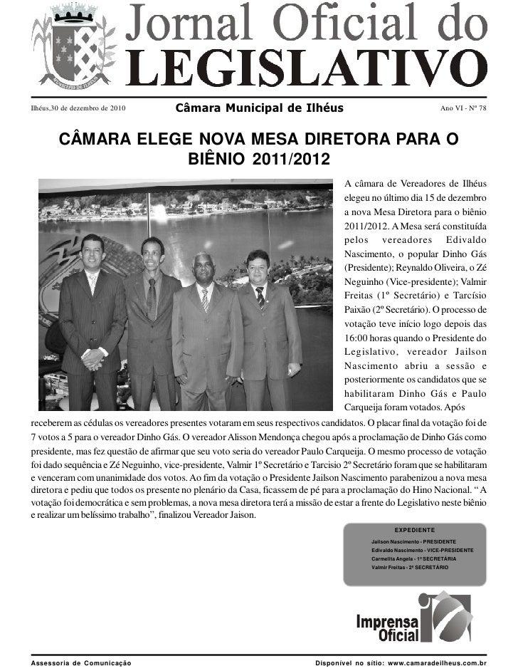 Ilhéus,30 de dezembro de 2010         Câmara Municipal de Ilhéus                                                    Ano VI...