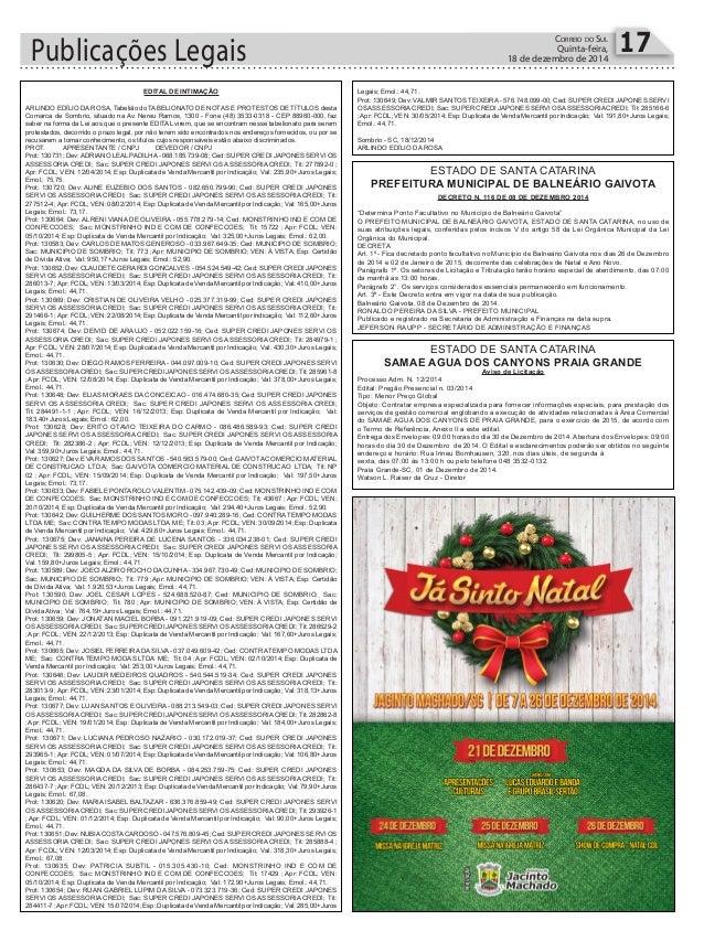 Publicações Legais 17CORREIO DO SUL Quinta-feira, 18 de dezembro de 2014 ESTADO DE SANTA CATARINA SAMAE AGUA DOS CANYONS P...