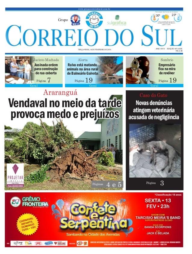 Vendavalnomeiodatarde provocamedoeprejuízos www.grupocorreiodosul.com.br ANO XXIV EDIÇÃO Nº 4.605 TERÇA-FEIRA, 10 DE FEVER...